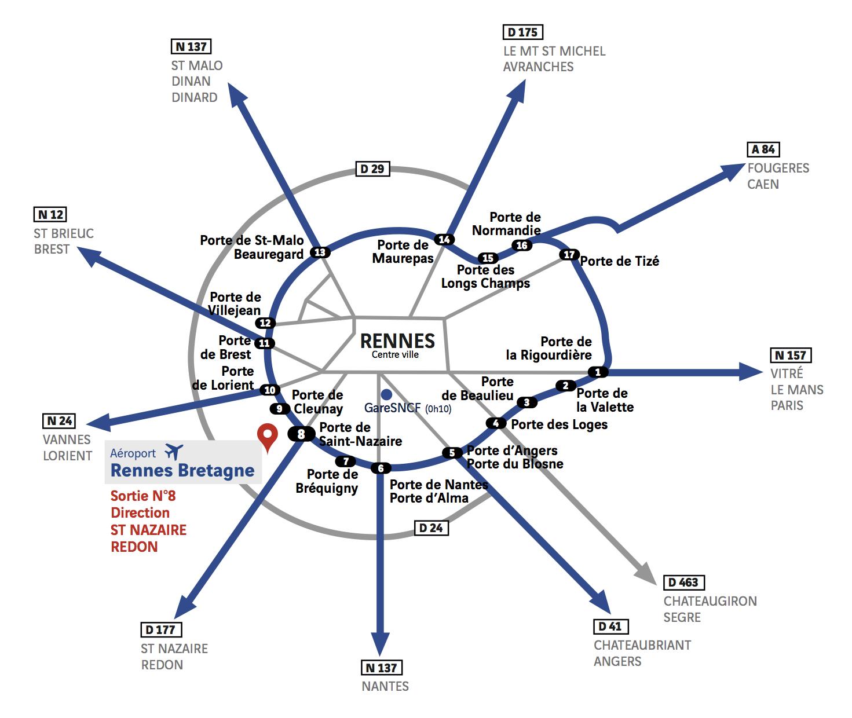carte rennes et alentours Plan d'accès | Aéroport Rennes Bretagne